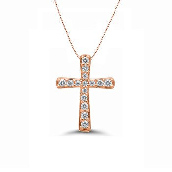 1/10ct tw Diamond Cross Necklace in 10K Rose Gold