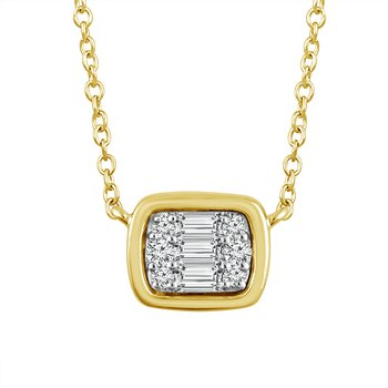 1/10ct tw Diamond East-West Necklace in 14K Yellow Gold