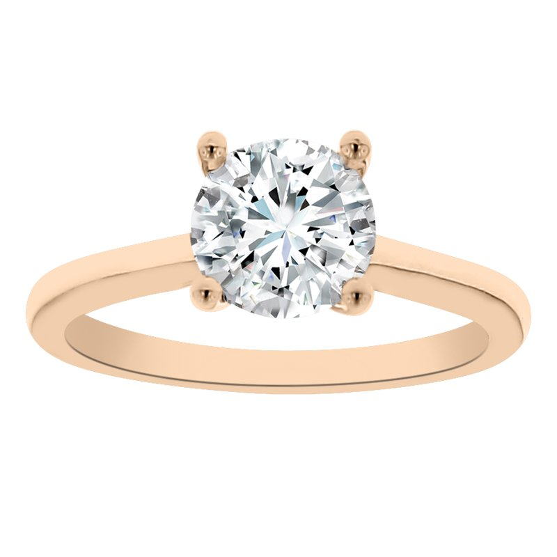Solitaire Engagement Ring Setting in 14K Rose Gold