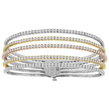 5 1/2ct tw Diamond Flexi Collection Bangle Bracelet in 14K White, Rose, & Yellow Gold