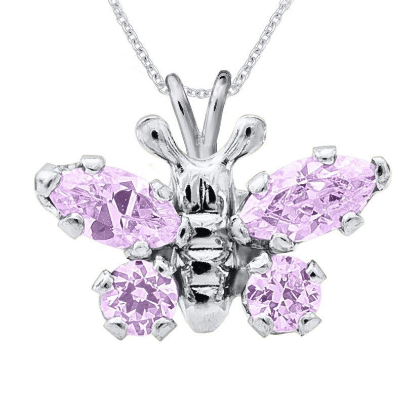 June Birthstone Butterfly Necklace in Sterling Silver