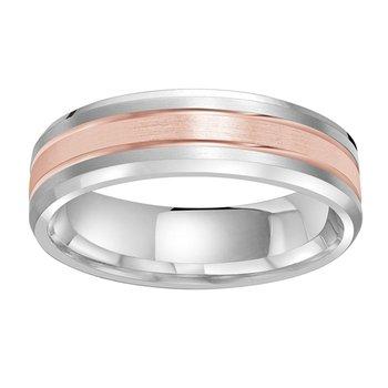 6mm Wedding ring in 14K White Gold & Rose Gold