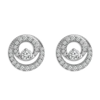 1/2ct tw Diamond Double Circle Earrings in 10K White Gold