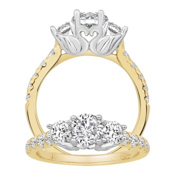 1ct tw Diamond Swan Collection Engagement Ring in 14K White & Yellow Gold