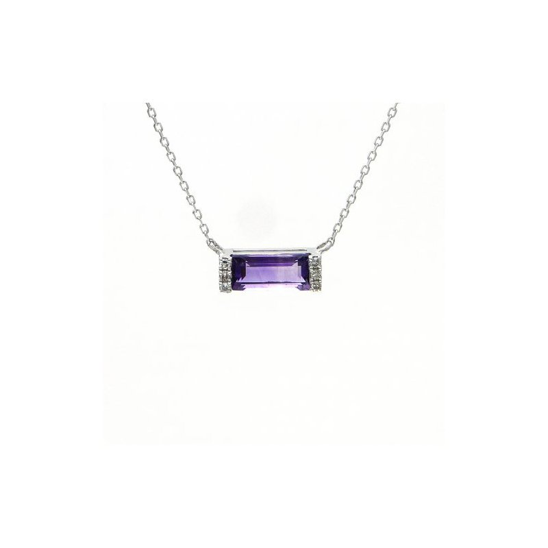 .03ct tw Diamond & Amethyst Bar necklace in 14K White Gold