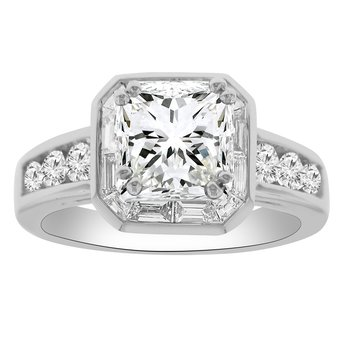 7/8ct tw Diamond Halo Engagement Ring Setting in 14K White Gold
