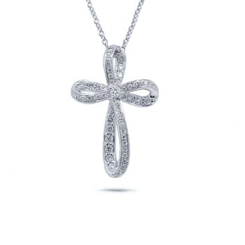 1/4ct tw Diamond Cross Necklace in 14K White Gold