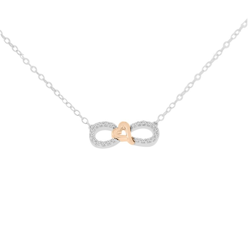 1/10ct tw Diamond Infinity Heart Necklace in Sterling Silver & 10K Rose Gold Plating