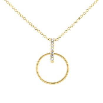 1/14ct tw Diamond Circle Necklace in 14K Yellow Gold
