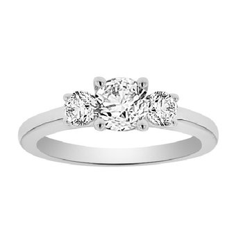 7/8ct tw Diamond Three Stone Engagement Ring in 14K White Gold