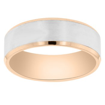 7mm Wedding Ring in 14K White & Rose Gold