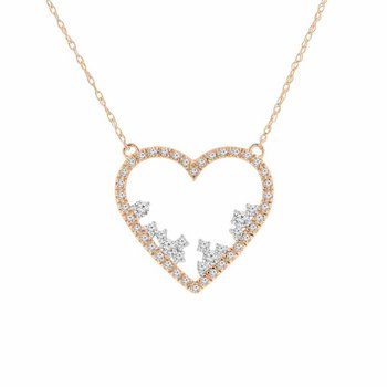 1/4ct tw Diamond Heart Necklace in 10K Rose Gold