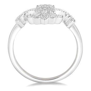 1/8ct tw Diamond Fleur De Lis Ring in 10K White Gold