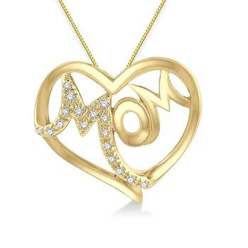 "1/14ct tw Diamond ""Mom"" Heart Neclace in 10K Yellow Gold"