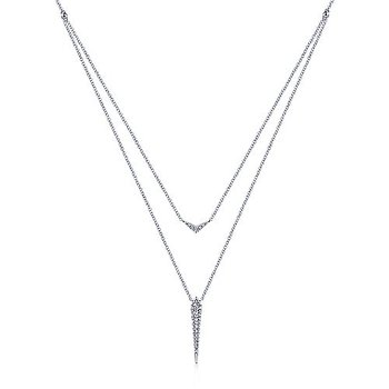 1/4ct tw Diamond Layered Necklace in 14K White Gold