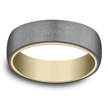 6.5mm Wedding Ring in Blackened Tantalum & 14K Yellow Gold