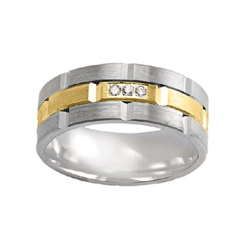 1/5ct tw Diamond Wedding Ring in 10K White and Yellow Gold