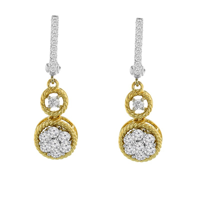 9/10ct tw Diamond Thousand Points of Light Dangle Earrings in 14K White & Yellow Gold