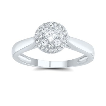 1/4ct tw Diamond Halo Engagement Ring in 14K White Gold