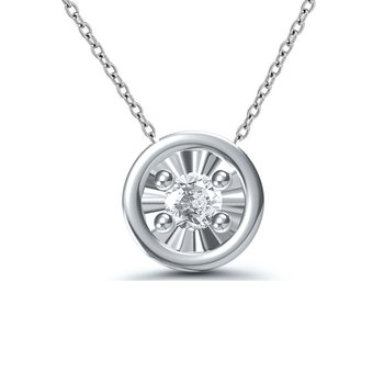 1/10ct tw Diamond Solitaire Necklace in 10K White Gold