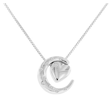 .04ct tw Diamond Moon & Back Necklace in Sterling Silver