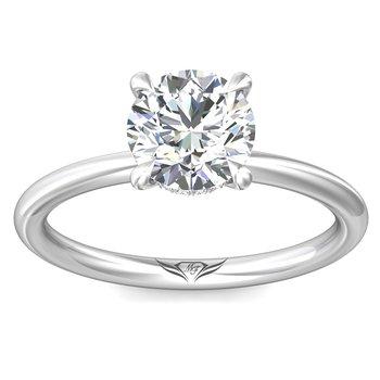 .04ct tw Diamond Hidden Halo Solitaire Engagement Ring Setting in 14K White Gold