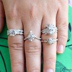 1/4ct tw NewBorn Lab Created Diamond Halo Engagement Ring Setting in 14K White Gold