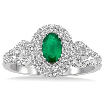 1/3ct tw Diamond & Emerald Halo Fashion Ring in 14K White Gold