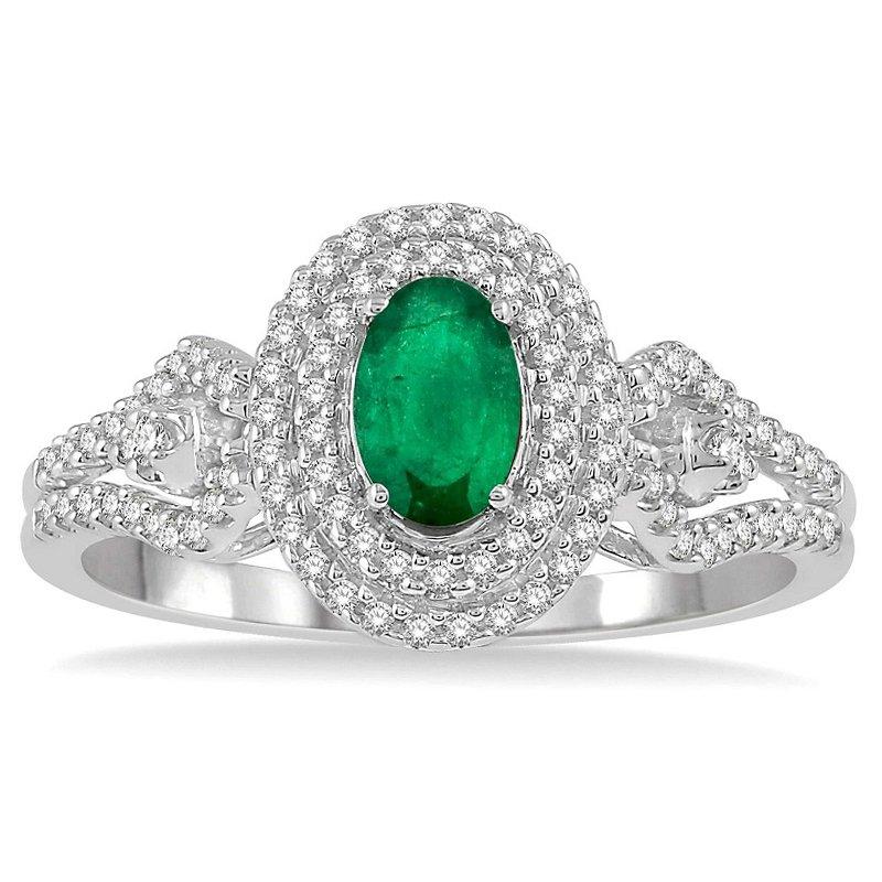 1/3ct tw Diamond & Emerald Halo Fashion Ring in 14K White Gold