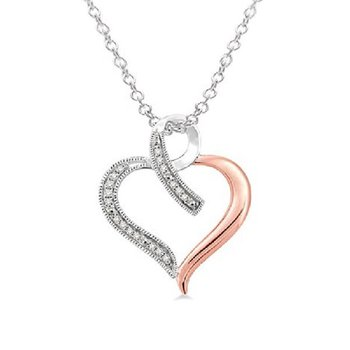 .05ct tw Diamond Heart Necklace in Sterling Silver with Rose Gold Plating