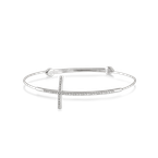 .05ct tw Diamond Cross Bangle in Sterling Silver