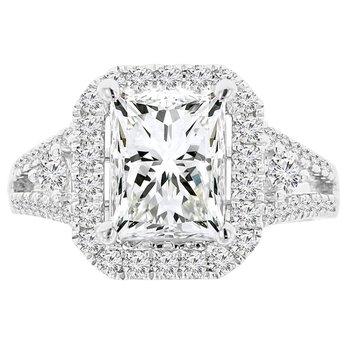 3 1/3ct tw NewBorn Lab Created Diamond Halo Engagement Ring in 18K White Gold