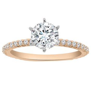 1/4ct tw NewBorn Lab Created Diamond Engagement Ring Setting in 18K White & Rose Gold