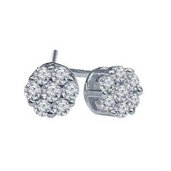 1/2ct tw Diamond Bouquet Earrings in 14K White Gold
