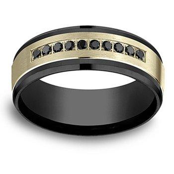 1/5ct tw Black Diamond Wedding Ring in 14K Yellow Gold & Black Titanium