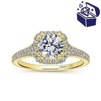 Treasure Hunt Value 1/2ct tw Diamond Halo Engagement Ring Setting in 18K Yellow Gold