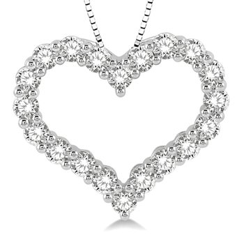 3/4ct tw Diamond Heart Necklace in 14K White Gold