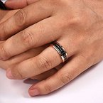 7mm Wedding Ring in 14K Rose Gold with Black Rhodium