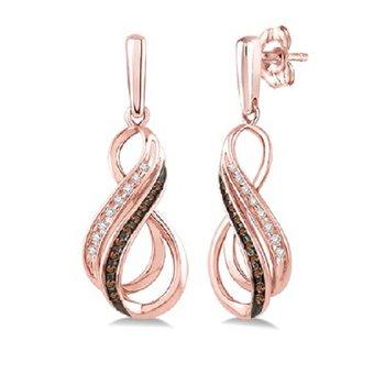 1/8ct tw Diamond Fashion Earrings in 10K Rose Gold
