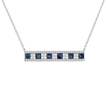 1 3/4ct tw Diamond & Blue Sapphire Bar Necklace in 14K White Gold