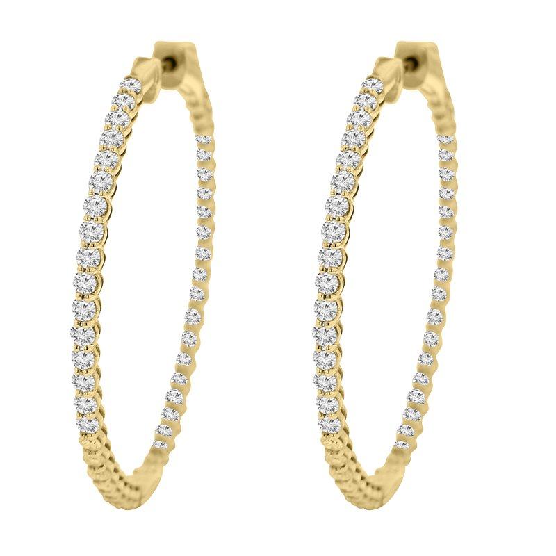 4 1/4ct tw Diamond Hoop Earrings in 14K Yellow Gold