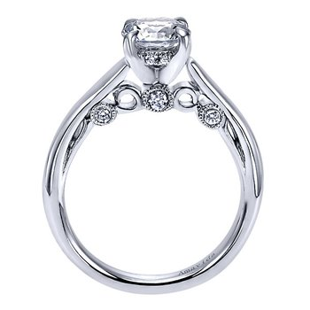 1/10ct tw Diamond Solitaire Engagement Ring Setting in 18K White Gold