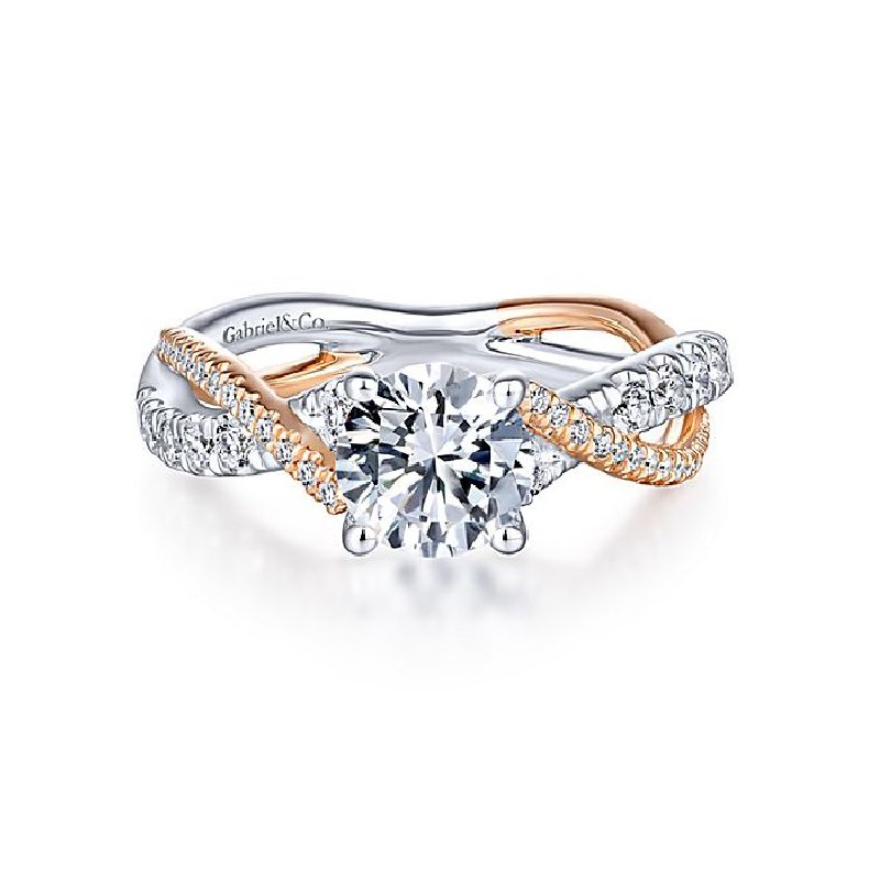 3/8ct tw Diamond Engagement Ring Setting in 14K White & Rose Gold