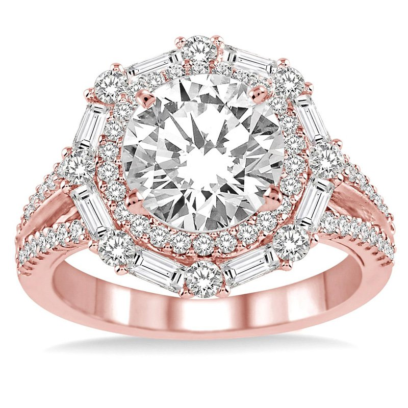 1ct tw Diamond Halo Engagement Ring Setting in 14K Rose Gold