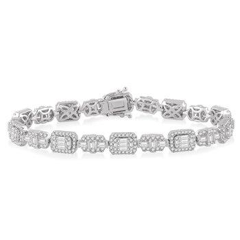4 5/8ct tw Diamond Halo Fashion Bracelet in 18K White Gold