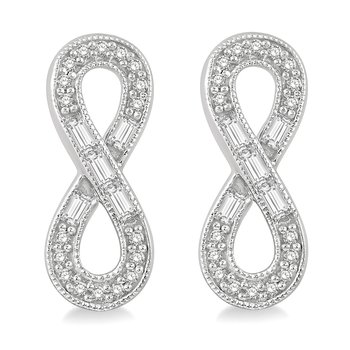 1/4ct tw Diamond Infinity Earrings in 10K White Gold
