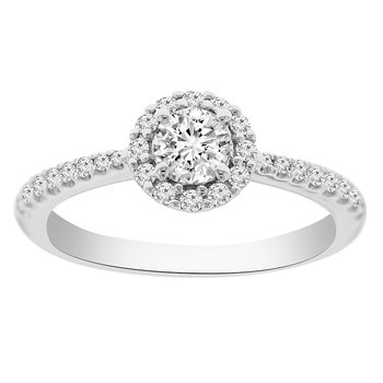 1/2ct  tw NewBorn Lab Created Diamond Halo Engagement Ring in 14K White Gold