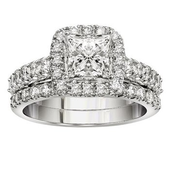3/4ct tw Diamond Halo Engagement Ring Setting in 14K White Gold