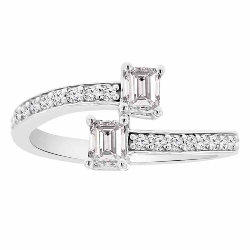 3/4ct tw Diamond Two Stone Ring in 14K White Gold