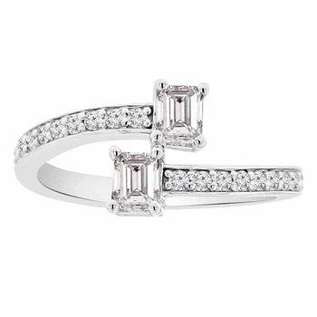 3/4ct tw Diamond Two Stone Ring in 14K White Gold